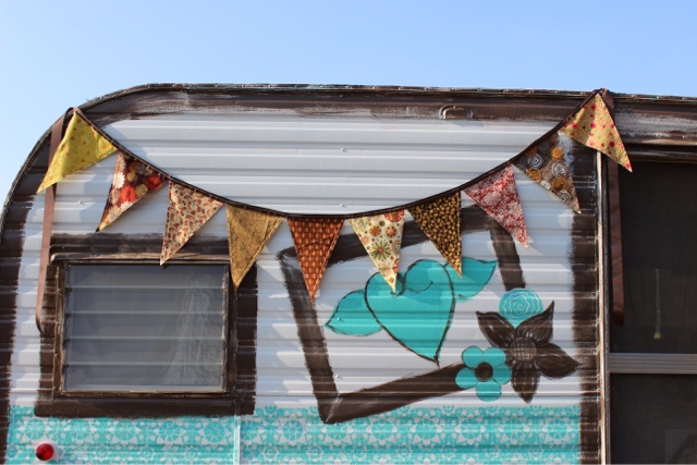 vintage camper with fall bunting