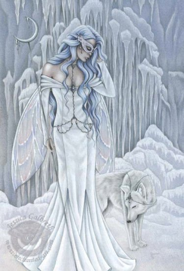 White Winter Angel And Wolf, Angels 1