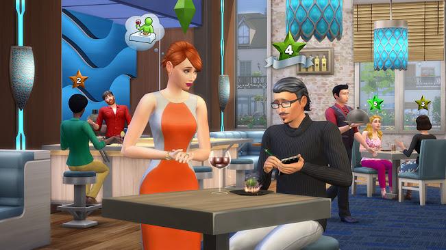 De Sims 4 Uit Eten restaurant sterrenscore