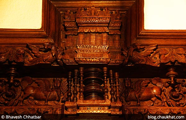 Chettinad door frame top with intricate carvings restored, at Savya Rasa [Koregaon Park, Pune]