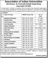 AIU New Delhi Jobs 2017 www.indgovtjobs.in