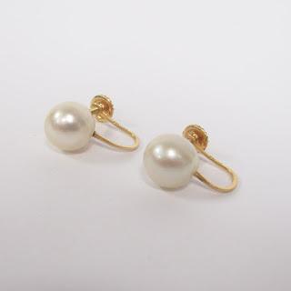 14K Gold and Pearl Screw-Back Earrings