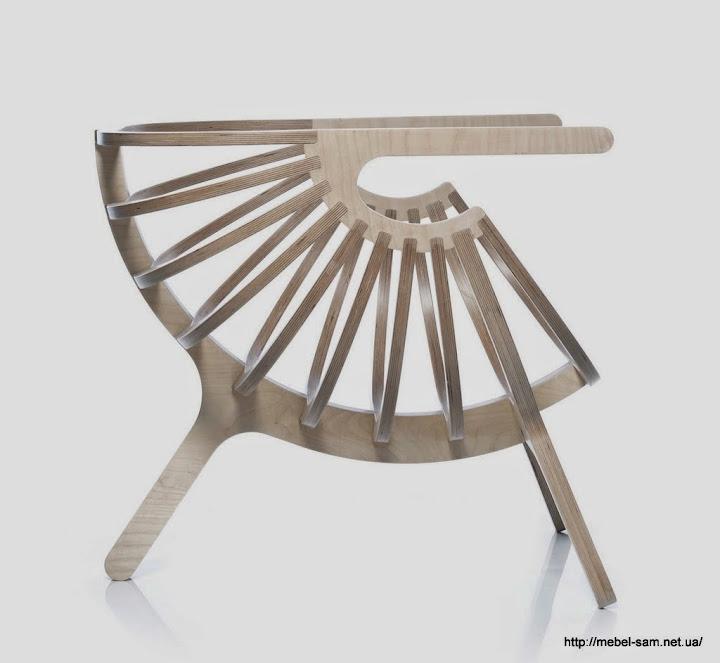 Вид на кресло сбоку - видна стыковка ребер и подлокотников