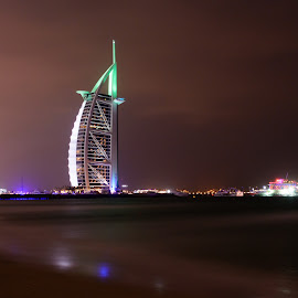 Burj Al Arab by Zulfikar Khan - City,  Street & Park  Skylines ( seashore, 360 degree, burj al arab, cloudy, night, beach, nightscape )