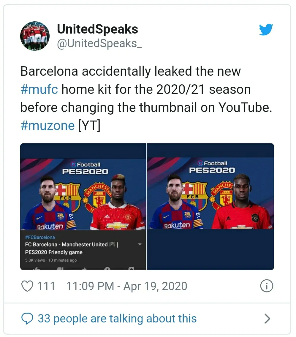 Dibocorkan Barcelona - Jersey Manchester United Home 2020/2021 Muncul Sebagai Thumbnail YouTube