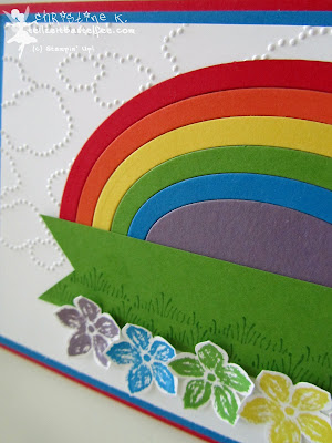 stampin up, rainbow tutorial, regenbogen, petite petals