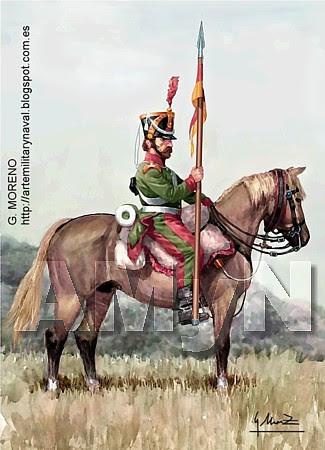 Lanceros de León. Pavía 1838