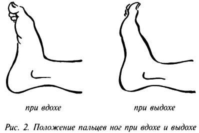 Положение пальцев ног при вдохе и выдохе