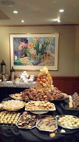 Desserts galore at the Heathman Beaujolais Nouveau 2015, including a Croquembouche (tower of petits choux, or choux pastry balls, with caramelized sugar) surrounded by the daintiest macaroons and tarts and eclairs and more