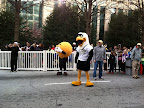 Lots of mascots from the various sports teams made the scene.