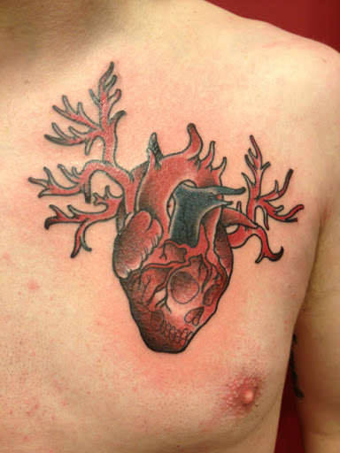 Coracao, como o desenho de tatuagem de caveira no peito ideias para homens
