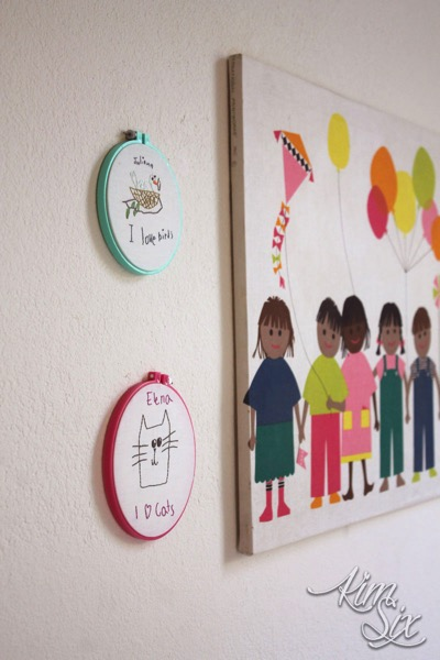 Embroidered children s drawings