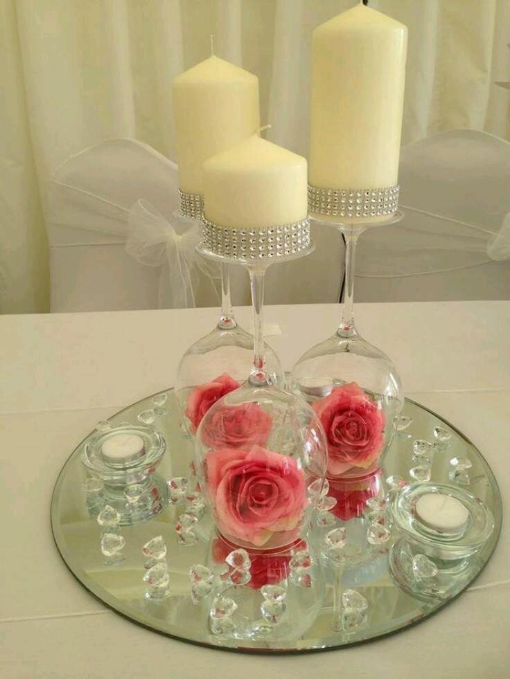 M s y m s manualidades crea hermosos centros de mesa con for Espejos para mesa