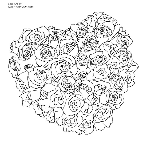 Hearts And Flowers Coloring Pages With Roses Heart Page
