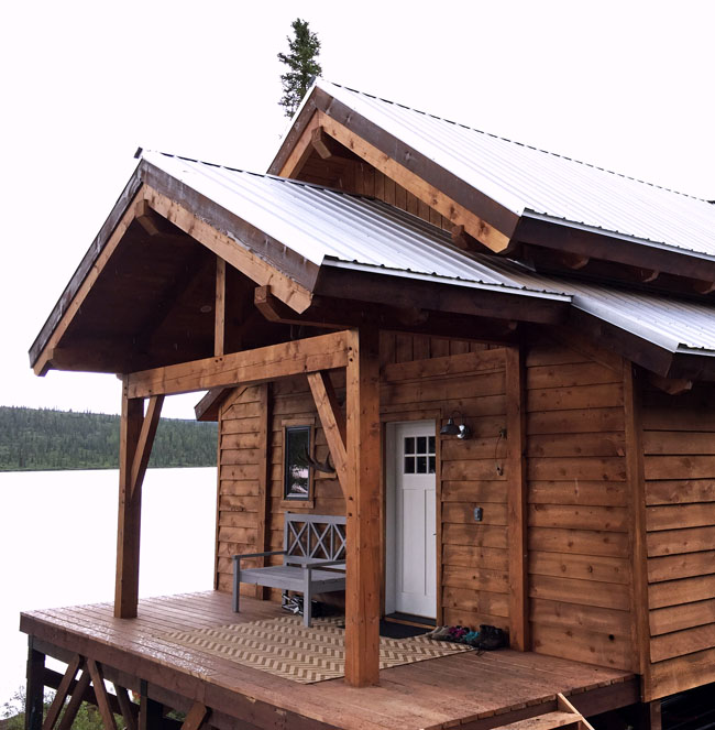 Picture Of A Gable Roof: Timberframe Front Porch For Alaska Lake Cabin
