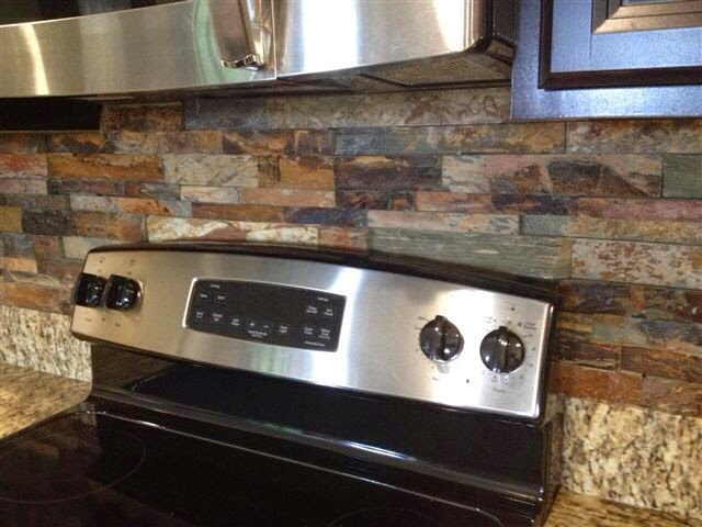 Good Finished The Brandon Florida Stacked Slate Kitchen Backsplash Tile Slate Backsplash Brandon Ceramictec With Slate Backsplash