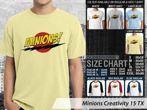 Kaos Kartun Minions Creativity 15 distro ocean seven