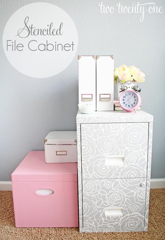 stenciled file cabinet