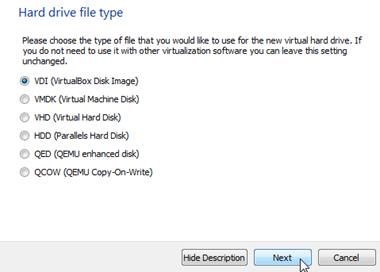 Memilih jenis hard drive virtual