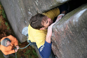 Picasa image: Grunting on Goliath...E4 5c, Burbage South, Peak District UK