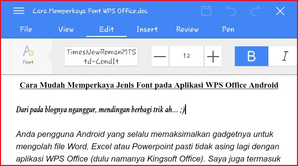 cara menambah font di ms word android
