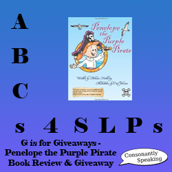 ABCs 4 SLPs: G is for Giveaways - Penelope the Purple Pirate Signed Book Review and Giveaway image