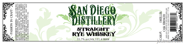 San Diego Distillery Straight Rye Whiskey