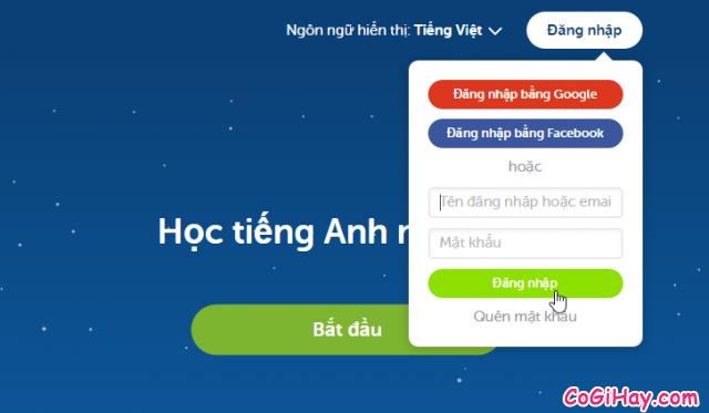 đăng nhập duolingo