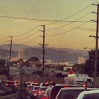 I'm grateful I no longer have a 23-mile #commute. Scene from the past. #LAtraffic #HollywoodSign #LaCienega