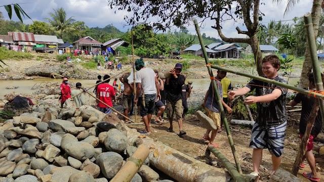 Jembatan Gantung Perintis di Desa Alat HST Mulai Dibangun