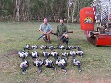 Mr Kopocis Snr & Jnr, magpie geese hunting at Carmor Plains