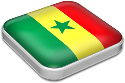 Flag of Senegal with metallic square frame