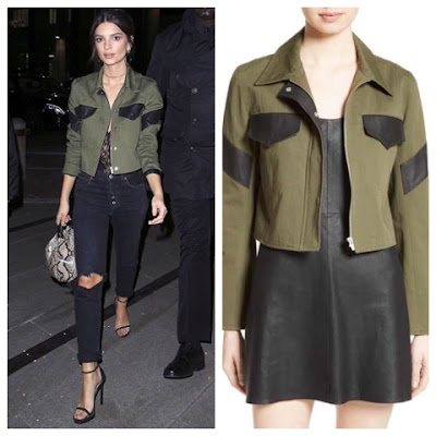 Emily Ratajkowski in Green Veda Leather Trim Military Jacket
