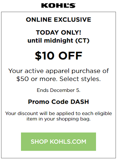 Kohls coupon $10 off $50 Active Apparel