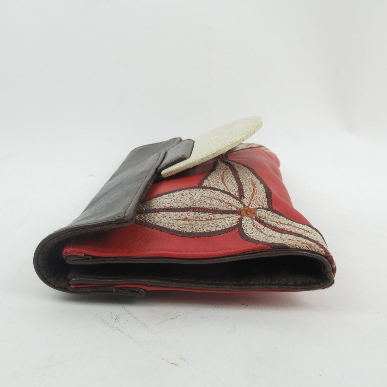 R&Y Augousti Leather & Shagreen Clutch Bag