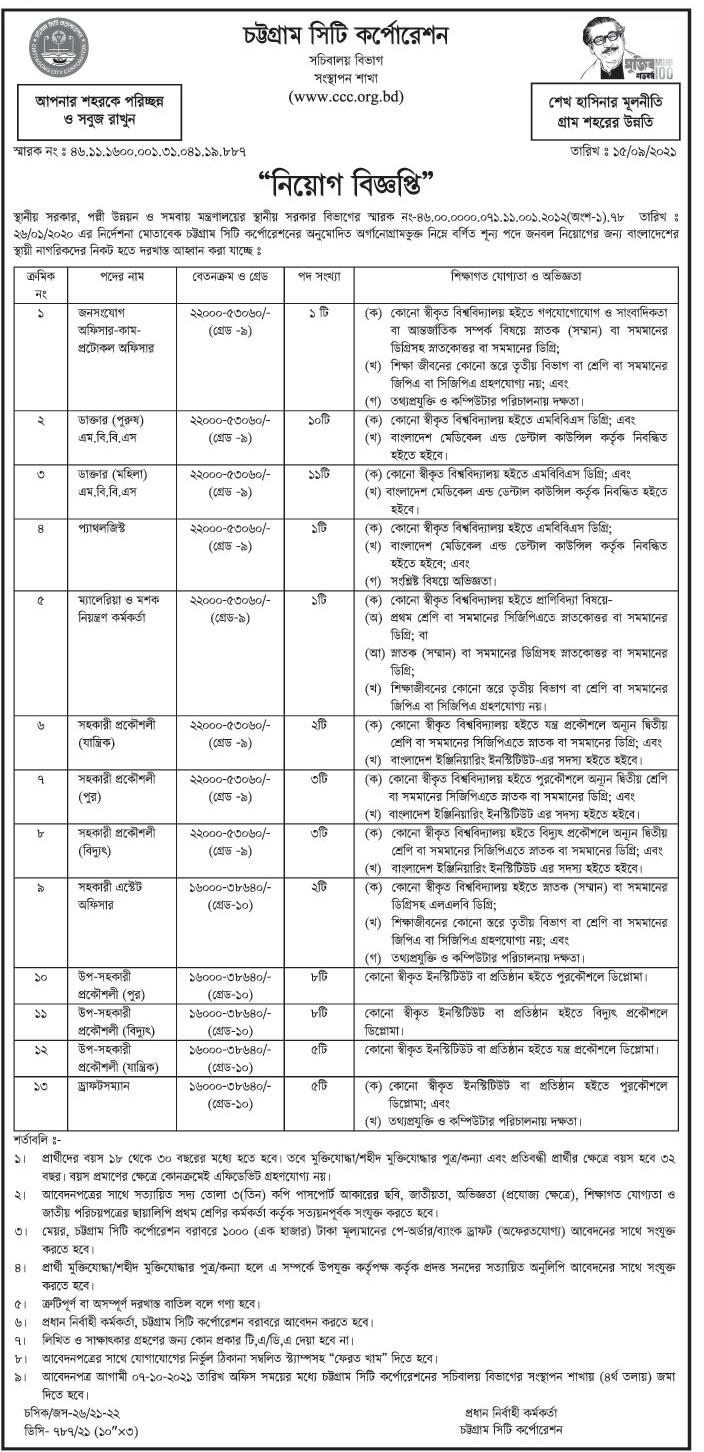 চট্টগ্রাম সিটি কর্পোরেশন নিয়োগ বিজ্ঞপ্তি - Chittagong City Corporation Recruitment Circular - চট্টগ্রাম সিটি কর্পোরেশন নিয়োগ বিজ্ঞপ্তি ২০২১ - Chittagong City Corporation Recruitment Circular 2022 - চট্টগ্রাম সিটি কর্পোরেশন নিয়োগ বিজ্ঞপ্তি ২০২২ - Chittagong City Corporation Recruitment Circular 2022 - চট্টগ্রাম সিটি কর্পোরেশন জব সার্কুলার ২০২১ - চট্টগ্রামের চাকরির খবর