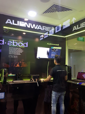 Visitors can try out virtual reality gaming at the Alienware section. Be aware though that passersby can all watch you, too.