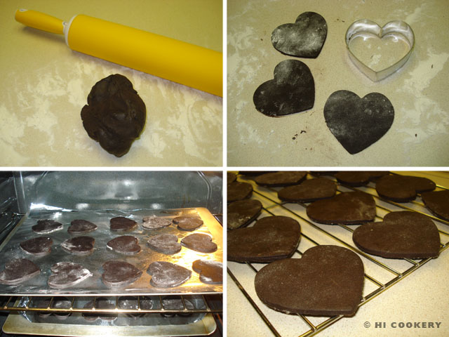 Dark Chocolate Heart Cookies with Fondant Decorations