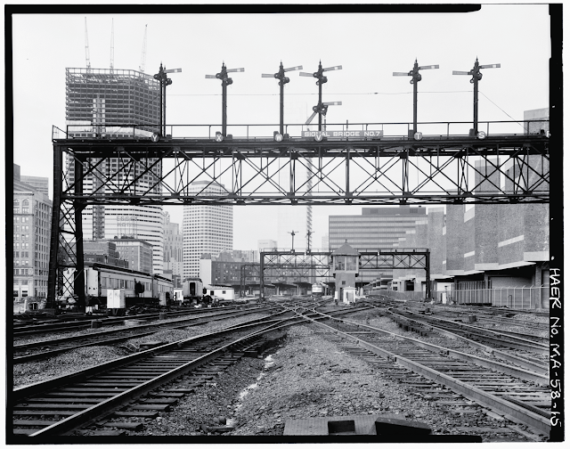 Semaphore signals on signal bridge No. 7. South Station Tower No. 1 & Interlocking System, Dewey Square, Boston, Suffolk County, MA