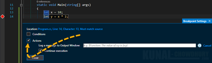 2. Create custom action for breakpoint in Visual Studio 2015 (www.kunal-chowdhury.com)