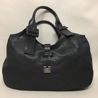 Lambertson Truex Black Leather Snakeskin Bag