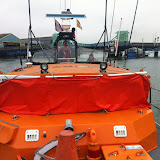 Thursday evening training exercise on blind navigation (e.g. night time or thick fog): the all-weather lifeboat has its lightproof screens up - 02 April 2015. Photo credit: Dave Riley/Poole RNLI