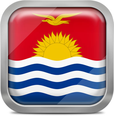 Kiribati square flag with metallic frame