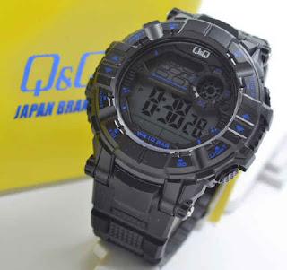 jam tangan Q&Q M152J002Y black rubber blue