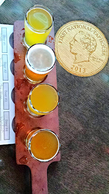 First National Taphouse Portland hosted a Breakside Farmhouse/Wild Ale tasting night. They offered 8 wild ales and saisons from Breakside, of which each guest could get a tasting paddle with your choice of four 5oz pours, and if you bougt a flight, you got a $1 any pint.