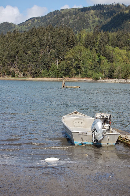 A small boat docked in the waters of Taylor Shellfish Farm. / Credit: Bellingham Whatcom County Tourism