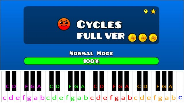 Cycles (Geometry Dash) ~ Piano Letter Notes