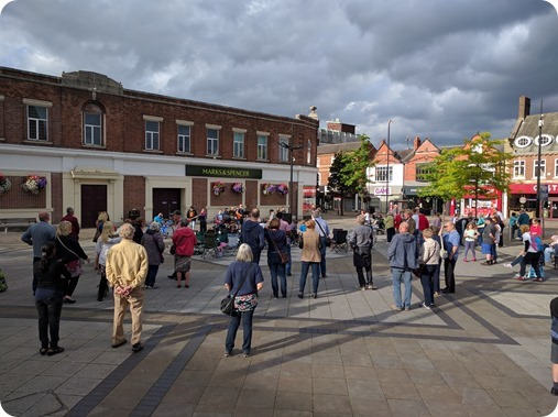 Open air meeting on Crewe town square
