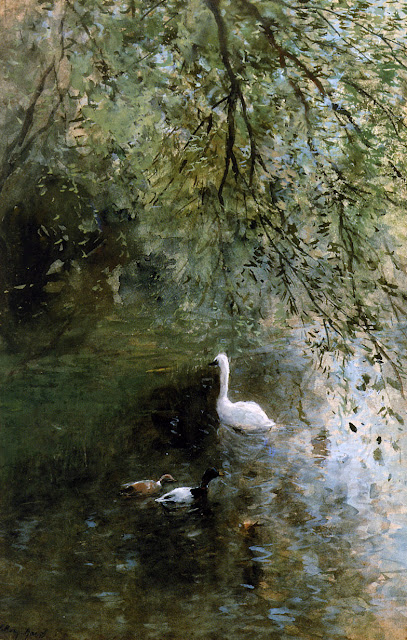 Willem Maris - Ducks and swan at the waterside