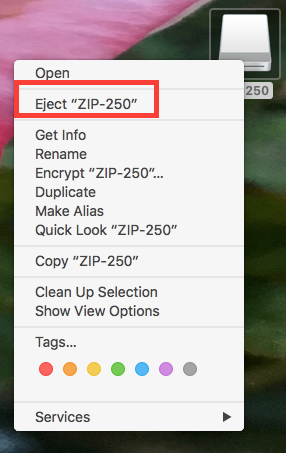 ZIP 250 right click menu